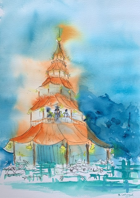 Chinesischer Turm im Englischen Garten  in München Aquarell von Bernd Lehrack