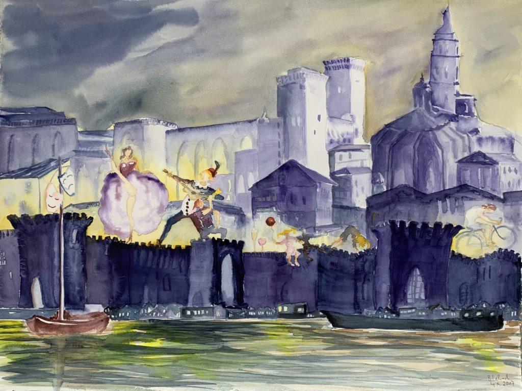 Avignon Theatherfestspiele Aquarell von Bernd Lehrack