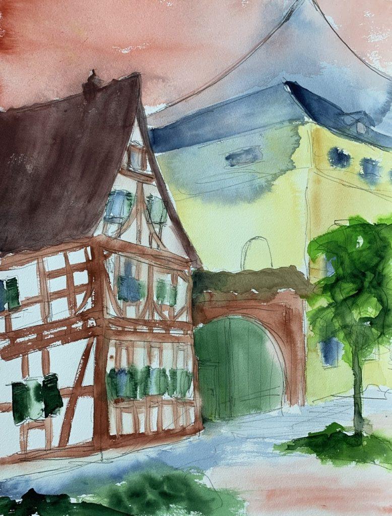 Bad Nauheim - Elvis Stadt Aquarell von Bernd Lehrack