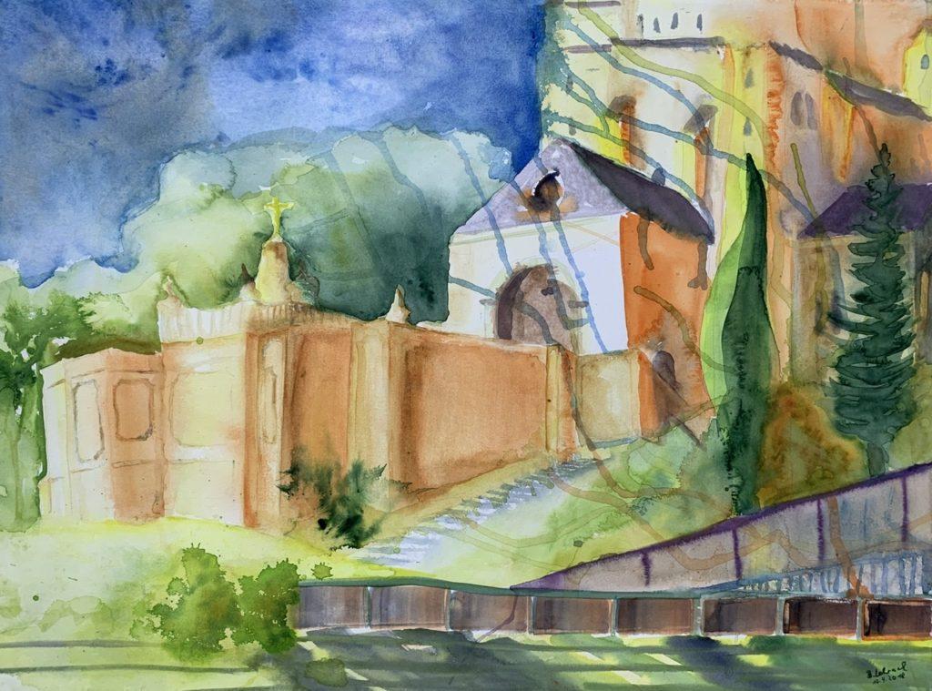 Avignon Kirche am Pabstpalast Aquarell von Bernd Lehrack